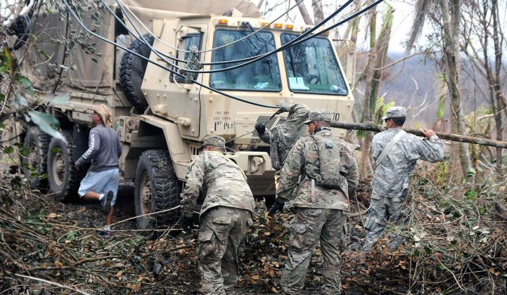 Puerto Rico National Guard works on cleaning debris near power lines.