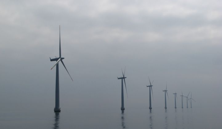 Offshore wind farm near Samsø, Denmark.