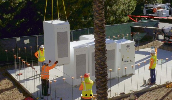 Advanced Microgrid Solutions Tesla battery installation.