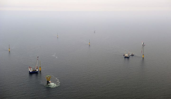 Alpha Ventus offshore wind farm under construction in the North Sea in 2009.
