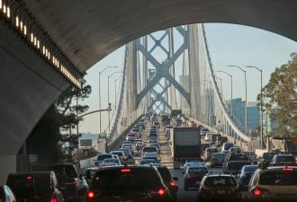 Morning traffic on San Francisco's Bay Bridge. Would autonomous vehicles help?