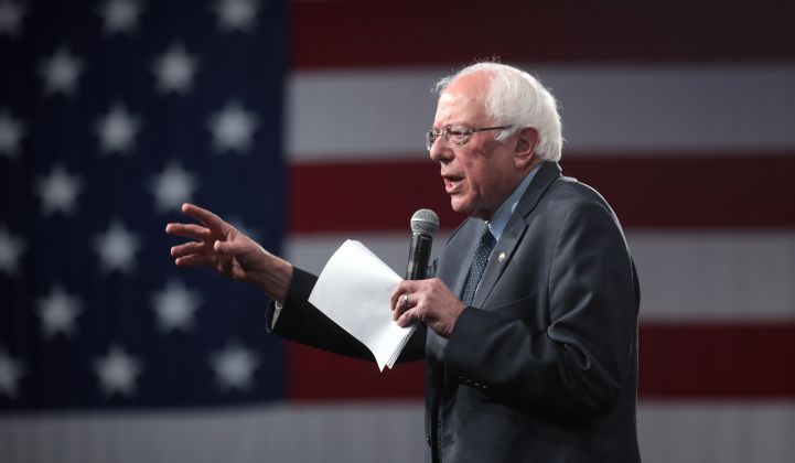 Green New Deal supporter Sen. Bernie Sanders has emerged as the Democratic frontrunner.