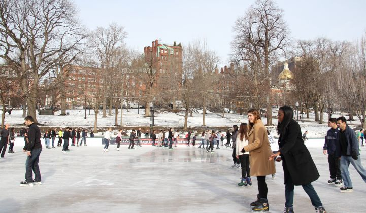 The Boston Common in wintertime. Utility Eversource is studying geothermal technologies for low-carbon heating.