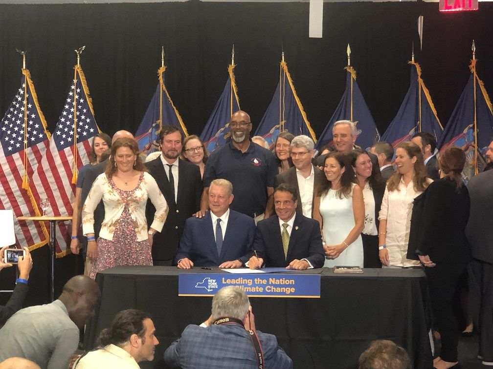 Former Vice President Al Gore joined Cuomo for the signing in New York City.