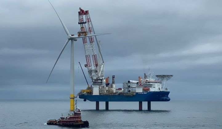 A specialized vessel was brought in from Europe to install the turbine pieces off the coast of Virginia. (Image: Dominion)