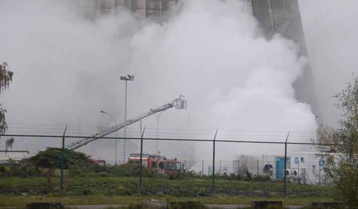 A fire engulfs a lithium-ion battery system at an Engie test site in Belgium, Nov. 11.