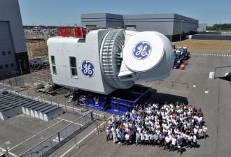 The first Haliade-X nacelle recently rolled out of the production hall in France. (Credit: GE)