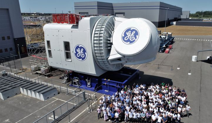 The first Haliade-X off the production line is set for field testing in Rotterdam. (Credit: GE)