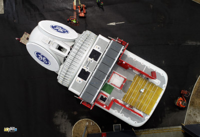The first Haliade-X nacelle was recently manufactured in France. (Credit: GE)