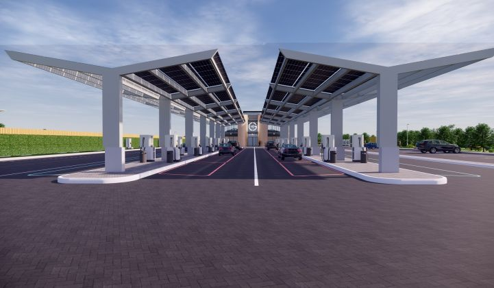 Gridserve's first charging station in Braintree, U.K. is currently under construction. (Credit: Gridserve)