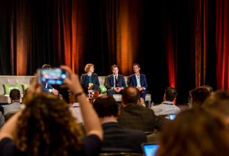 Greentech Media in action at the 2019 Solar Summit, one of our last live events before the pandemic put us all behind screens.