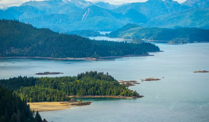 The Haida Gwaii islands are separated from mainland British Columbia by the Hecate Strait.