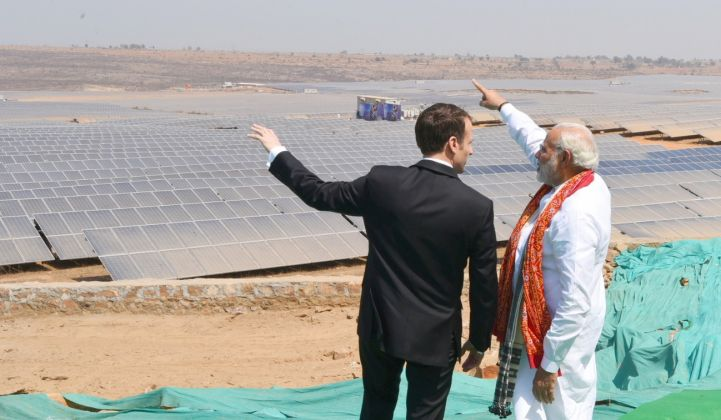Indian Prime Minister Narendra Modi hosting French President Emmanuel Macron in 2018. (Credit: India's Ministry of Civil Aviation/Wikimedia Commons)