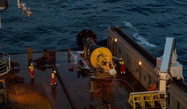 Ocean Power Technologies is operating a wave energy device for Italy's Eni in the Mediterranean. (Photo: OPT)