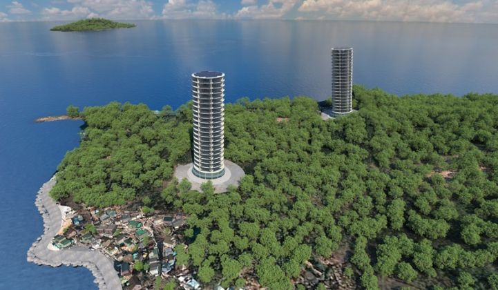 Odin Energy says its wind tower concept can bring wind power to urban areas and island grids. (Credit: Odin Energy)