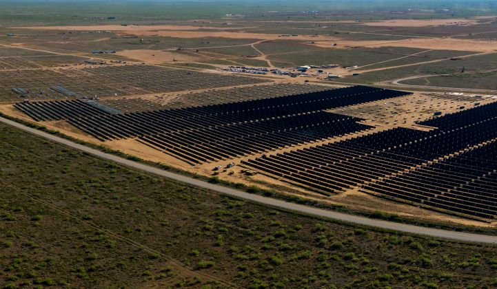 The Permian Energy Center is under construction in West Texas using JinkoSolar panels. (Photo: Orsted)