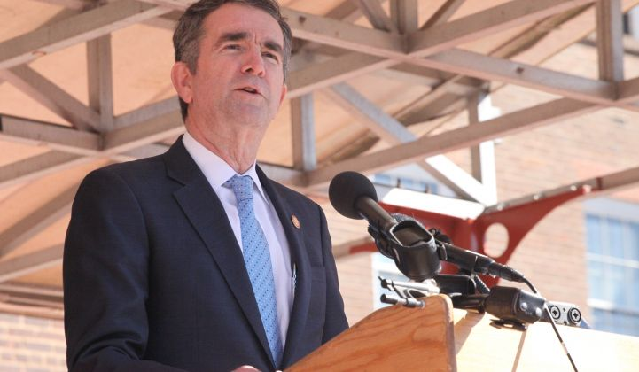 The tide has turned for renewables in Virginia under Governor Ralph Northam.