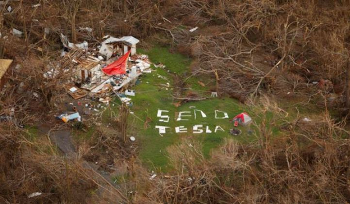 Send Tesla energy storage sign in US Virgin Islands after Hurricane Irma