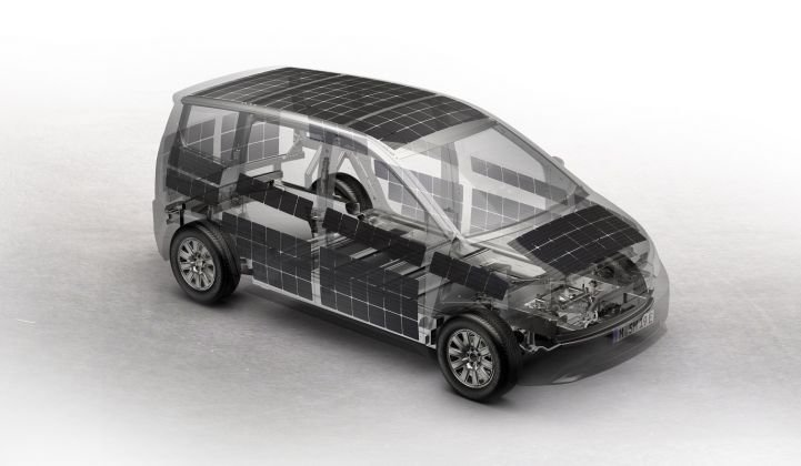 A rendering shows the location of the PV panels on the Sion's exterior. (Credit: Sono Motors)