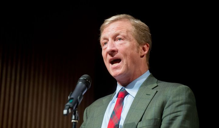 Billionaire Tom Steyer Calls on Candidates to Push for a 50% Renewables Policy