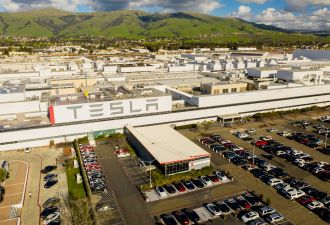 Tesla idled production last month at its EV factory in Fremont, California.