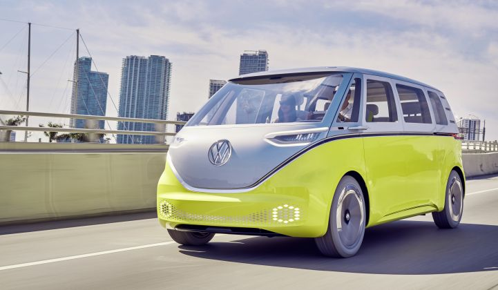 A reimagining of Volkswagen's classic camper van based on its electric drive platform. (Credit: VW)