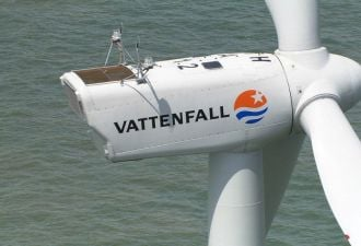 Vattenfall placed one of its 8.8-megawatt turbines at the European Offshore Wind Deployment Center.