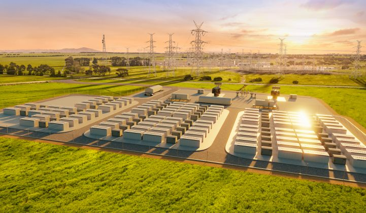 An artist's rendering of the Victorian Big Battery, which will assist power flows between two Australian states. (Credit: Neoen)