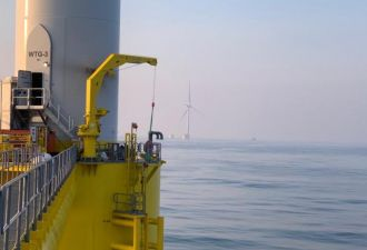 The second WindFloat Atlantic turbine is now in position off the coast of Portugal. (Credit: EDPR)
