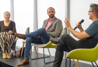 In conversation: Chloe Munro, Ben Kellison and Phil Blythe. (Credit: Greensync)