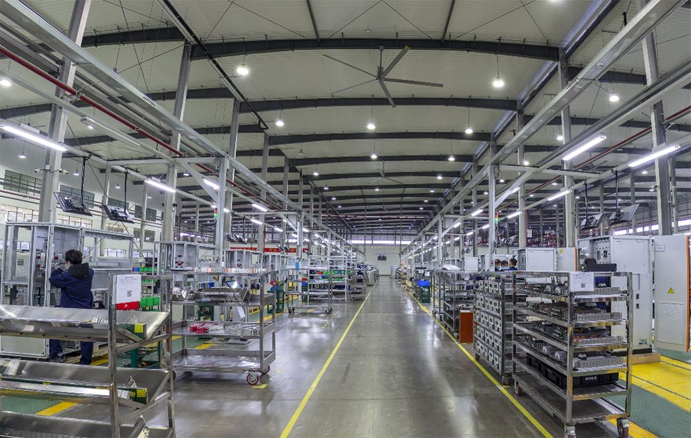 Automation helped limit the impact of social distancing at Sungrow's factory in China. (Credit: Sungrow)