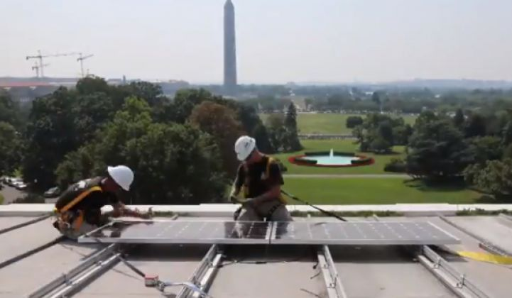 White House Finally Goes Solar; Obama Preaches Efficiency and Jobs at Wal-Mart