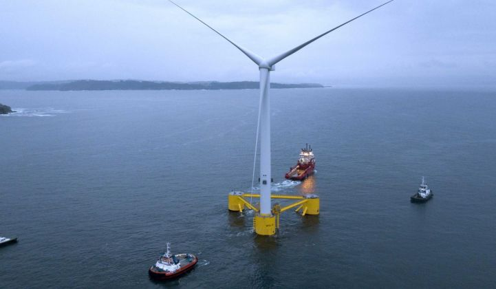 The first WindFloat Atlantic turbine being towed into position last year. All three floating MHI Vestas turbines are now up and running. (Image: EDPR)